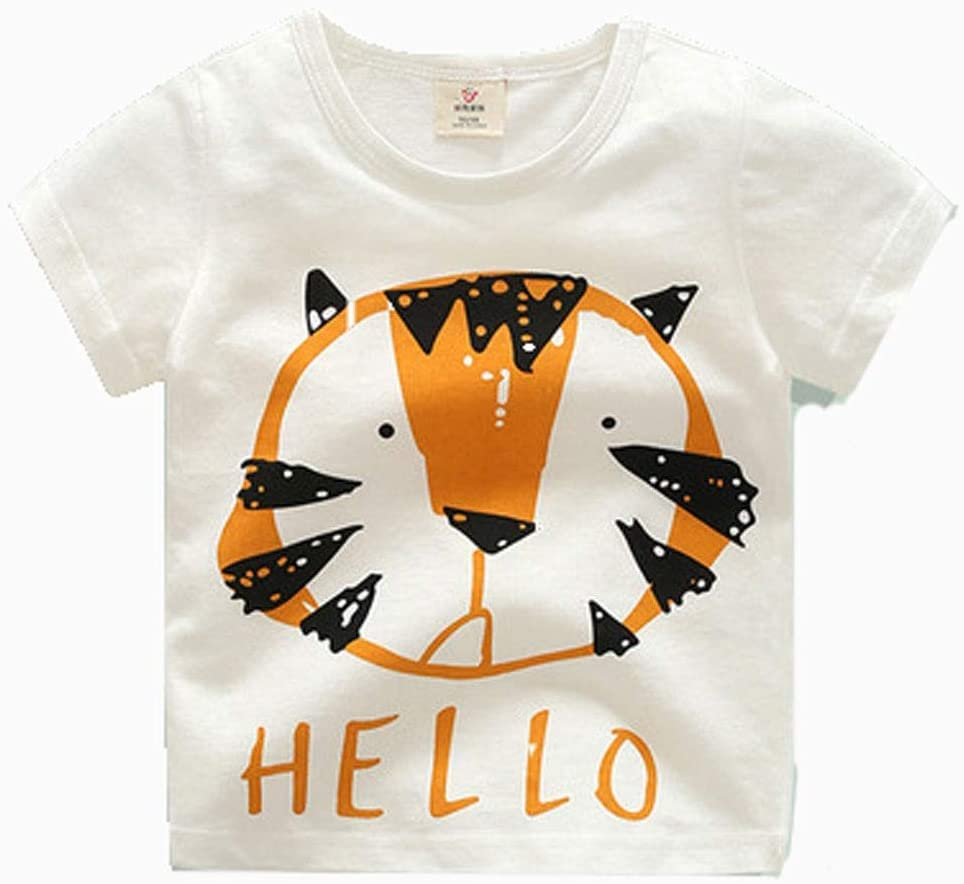 Short-Sleeved t-Shirt Summer Clothes Boys and Girls Kid's Cartoon Round Neck top Cotton Cotton T-Shirt Suitable for Kid with a Height of 90CM-140CM Soft (Color : G, Size : 110CM)