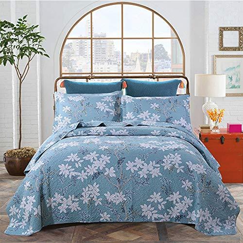 WYHQL Colcha Acolchada de 3 Piezas + 2 Fundas de Almohada Edredón Reversible Manta Lavable con Estampado Floral Pastoral, Azul (Size : 250x270cm)