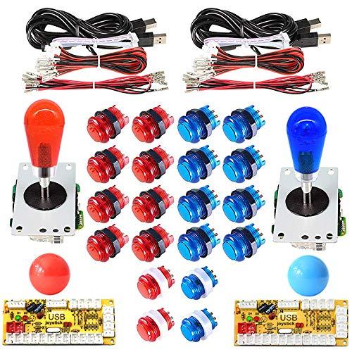 Arcity 2 Player Arcade LED Buttons and Joystick Kits Illuminated DIY Controller USB Encoder to PC Games 8 Ways Joystick Bat Top + 20 LED Push Buttons + Balltop for Windows Jamma MAME Raspberry Pi New