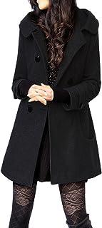 Tanming Women's Winter Double Breasted Wool Blend Long Pea Coat Hood