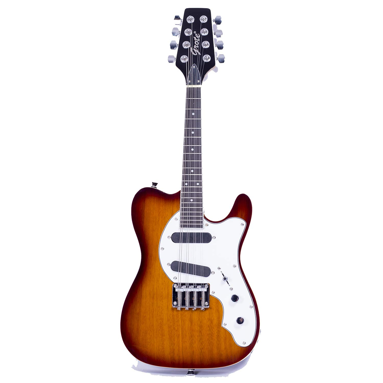 Cheap Grote Handmade Electric Guitar 8-Strings Mandolins Travel Guitar Sunburst Color Black Friday & Cyber Monday 2019