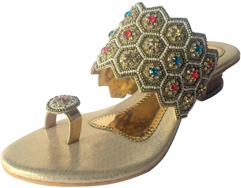 Step n Style gold Sexy Womens Indian shoes Diamond Heel Sandal Party Juttis Mojari