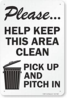 LoMall Please, Help Keep This Area Clean Safety Sign Caution Warning Sign Tin Metal Decor Sign Garage Decor Art 8x12