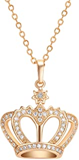 YCDYUB 18K Gold Plated Womens Queen Crown Pendant Necklace Crystals Best Gift