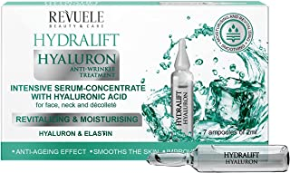 Revuele Ampoules Hydralift Hyaluronic Intensive Face Serum 2 ml with Hyaluronic Acid for Face Neck and Décolleté 100% Pure...