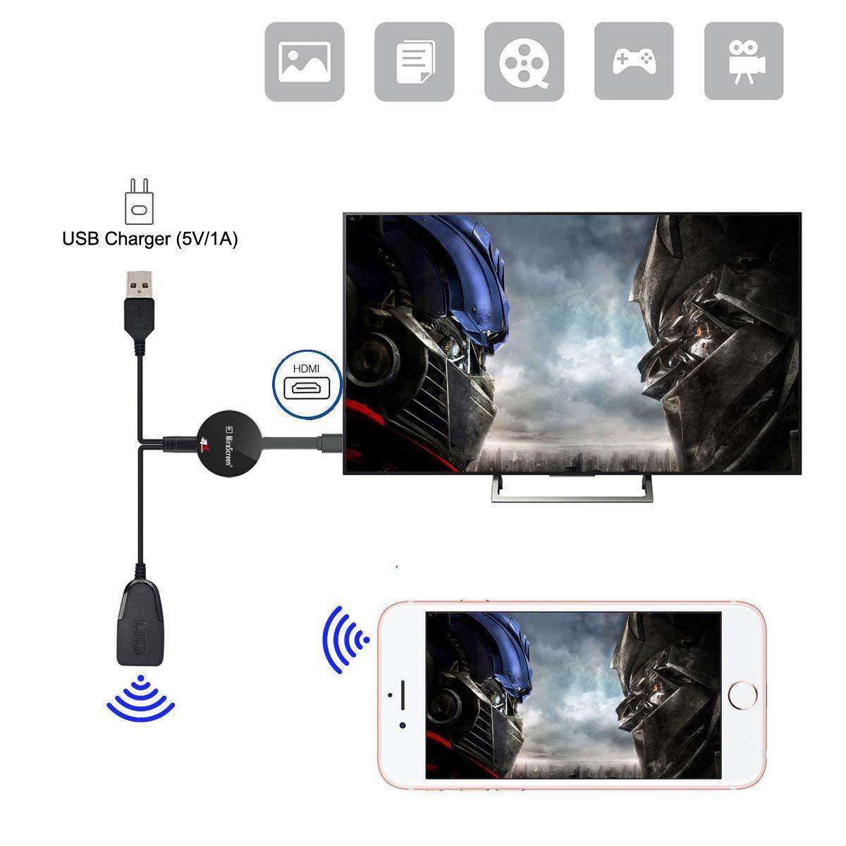 Adaptador HDMI inalámbrico 4K con pantalla WiFi Dongle para TV 4K ...