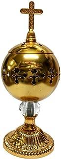 Nazareth Store Handmade Gold Censer Polished Brass Jerusalem Church Incense Burner Cross Distiller 7.9