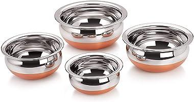 Euxial Stainless Steel Copper Bottom Handi Set with Copper Bottom Sauce & Milk Pan Tea & Coffee Pot tapeli patila (5