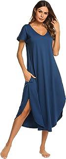 ملابس نوم نسائية باكمام قصيرة ورقبة على شكل حرف V من اكوير، ملابس نوم ليلية مقاس كبير S-XXL