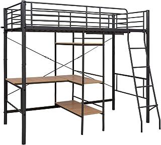 Festnight Lit Superposé avec Table Lit pour Enfants sans Matelas Gris Métal 90x200 cm