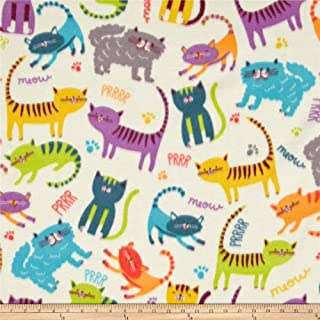 Baum Textiles Winter Fleece Meow Club Fabric By The Yard, Multicolor