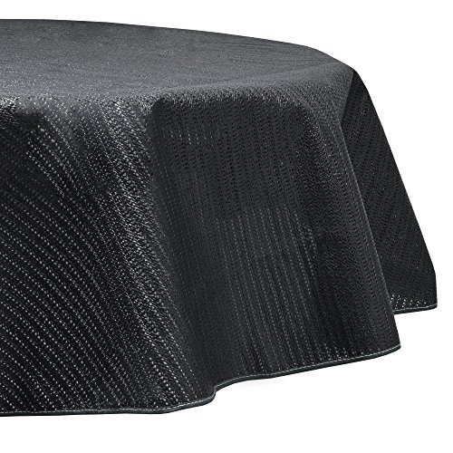 Beautissu Nappe de Jardin en PVC Ronde Lena Gris Ø160 cm Lavable et Resistant aux intemperies