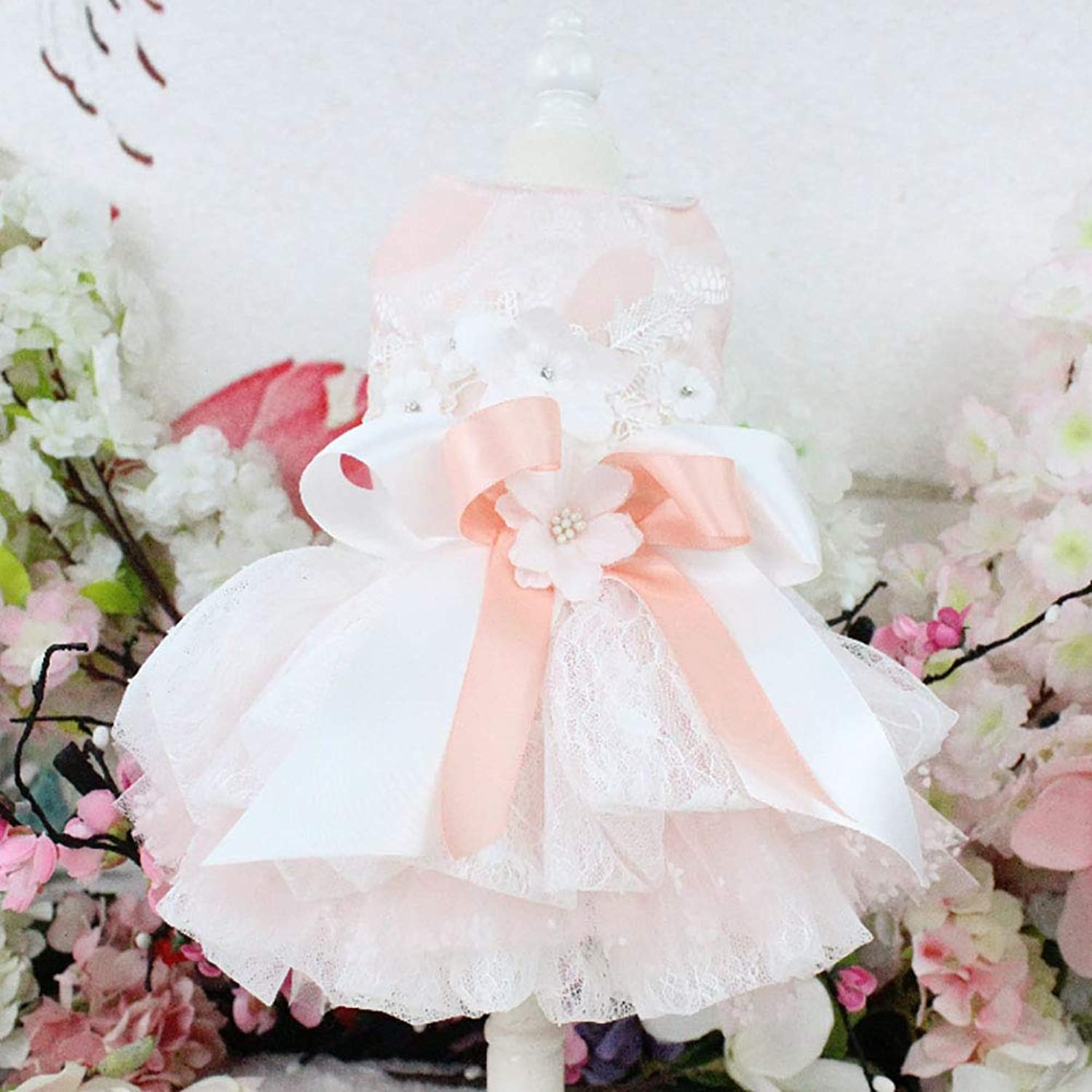 Puppy Dog Princess Dresses,Dog Bride Costume ThreeDimensional Flower Decoration Multi Skirt Suitable Wedding Photography Festival Birthday Party,XL