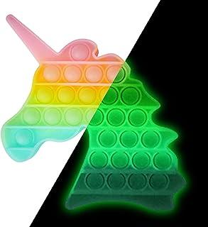 Pop It Fidget Toys,Pop it Fluo Licorne,Anti Stress Enfant,Push Pop Bubble Sensory Fidget toys,Anti Stress Sensoriel Jouet,...