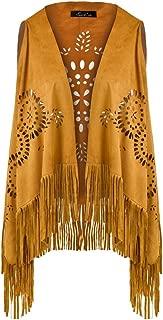 Suedette V-Neck Front-Open Fringe Sleeveless Cardigan Gilet Vest with Punch Hole Patterns for Ladies