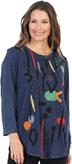 Women's Mineral Washed Cotton 3/4 Sleeve Tunic Top