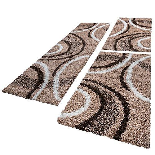 Paco Home Bettumrandung Läufer Shaggy Hochflor Teppich Muster Braun Beige Läuferset 3 TLG, Grösse:2mal 70x140 1mal 70x250
