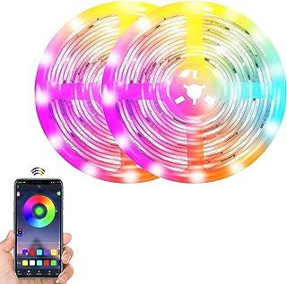 Glückluz LED Strip Light 10 Meters 600 LEDs Smart Bluetooth 5050 RGB Decoration Light Colorful TV Backlight Waterproof Rop...