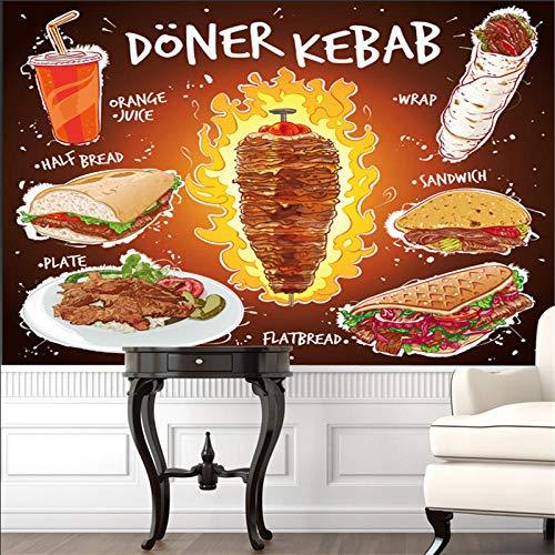 3D Tapete Benutzerdefinierte Handgezeichnete 3D Döner Kebab Fladenbrot Sandwich Teller Mit Orangensaft Wandbild Tapete Fast Food Restaurant Tapete 3D,300 * 210Cm
