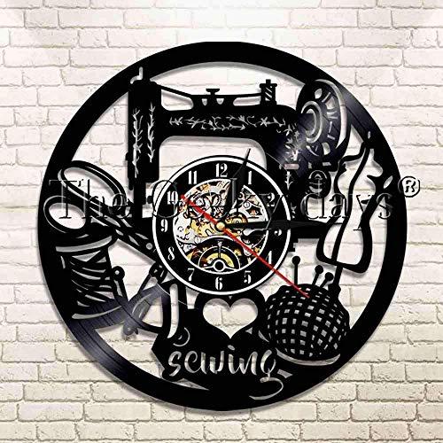 szhao Me Encanta Coser Reloj de Pared con Disco de Vinilo Aquí Coser máquina de Coser Reloj costurera Mujer Madre Regalo