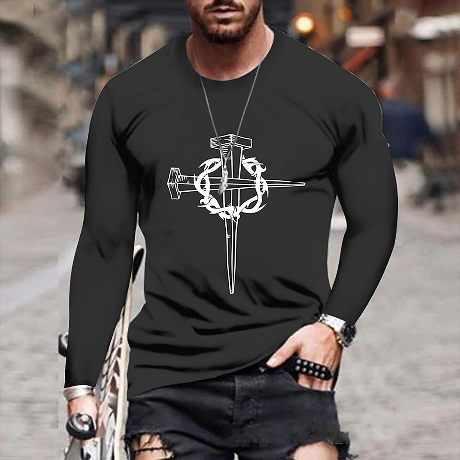 XXBR Soldier Long Sleeve T-shirts for Mens, Fall 3D Novelty Street Faith Jesus Cross Print Workout Athletics Tee Tops
