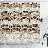 Beige Duschvorhang Farbverlauf Farbige Mosaikwellen Einstellung Antike Roman Royal Datiert Retro Muster Stoff Stoff Bad Dekor Dekor Set Mit Haken Beige BraunBeige Shower Curtain Gradient Colored Mosai