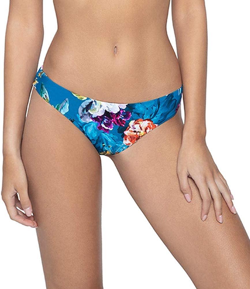 PQ Swim Women's Spiritual Bloom Embroidered Ruched Brazilian Bikini Bottom