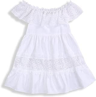 Kids Baby Girls Hollow Ruffle Dress Off Shoulder Lace Dress Party Princess White Dress