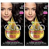 Garnier Olia Ammonia-Free Brilliant Color Oil-Rich Permanent Hair Color, 3.0 Darkest Brown (Pack of 2) Brown Hair Dye