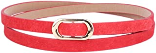Damara Womens PU Thin Skinny Belt Oval Buckle Decorative Wasitband
