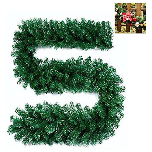 xiaoyu shop Guirnalda de Navidad verde de 270 cm, guirnalda de pino verde de Navidad, decoración de árbol de Navidad, decoración de jardín y patio