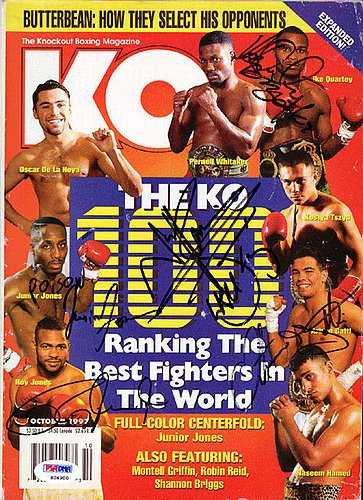 Arturo Gatti Roy Jones Jr Ike Quartey and Junior Jones Autographed Magazine - PSA/DNA Certified