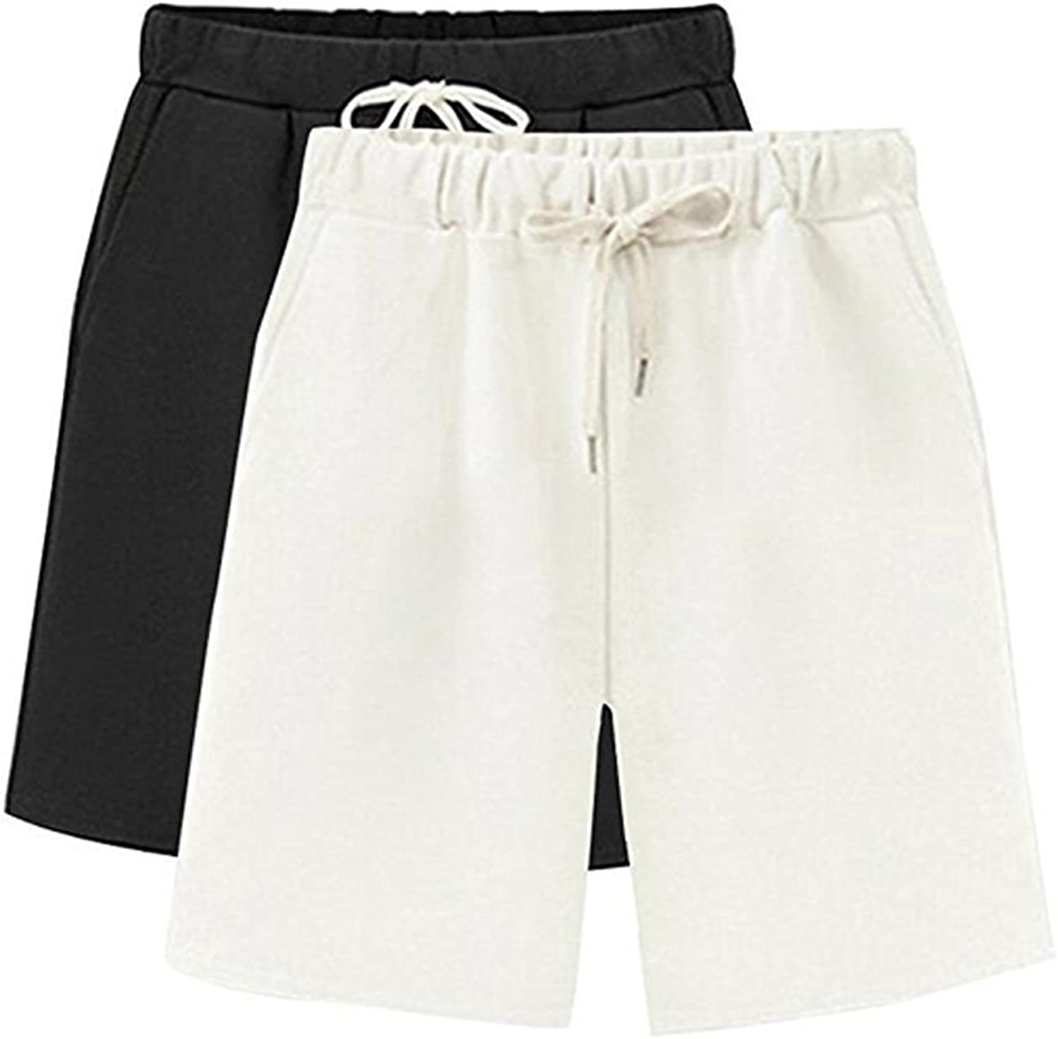 HOW'ON Women's Soft Knit Elastic Waist Jersey Casual Bermuda Shorts with Drawstring
