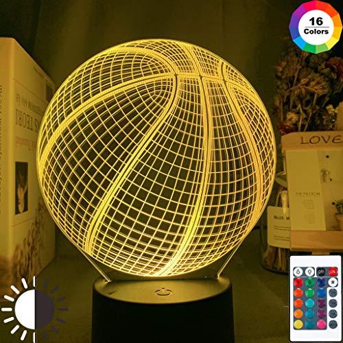 Sanzangtang Led-nachtlampje, 3D-7 kleuren, afstandsbediening, basketbal, acryl, acryl, nachtlampje, uniek cadeau voor binnendecoratie, studenten, slaapkamer, nachtlampje