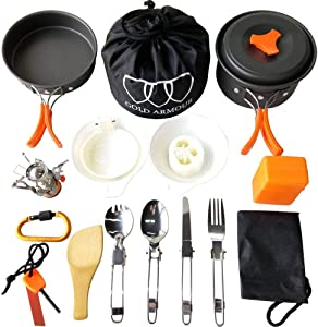Gold Armour 17 Pieces Camping Cookware Mess Kit Backpacking Gear and Hiking Outdoors Bug Out Bag Cooking Equipment Cookset | Lightweight, Compact, Durable Pot Pan Bowls (Orange)