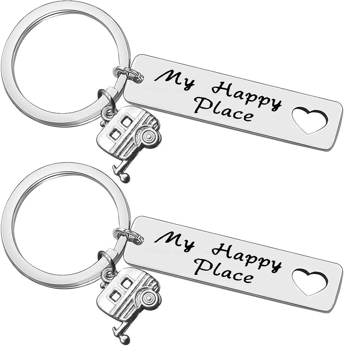 Baixian Cheap Happy Camper unisex RV Keychain Gifts My Trailer Jewelry