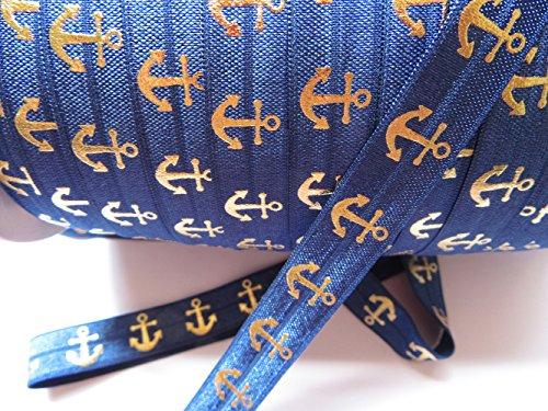 YYCRAFT Pack 10 Yards Gold Anchor Fold Over Elastic Stretch Foldover FOE Elastics for Hair Ties Headbands-Navy