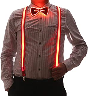 2 Pcs/Set, Good Quality Light Up Men's LED Suspenders And Bow Tie, Perfect for Music Festival Halloween Costume Party