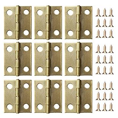 Foto di Mini cerniere cilindriche per cassetti, 50pezzi e viti per cerniere, 200pezzi da 5mm, ricambi per mini cerniere in ottone