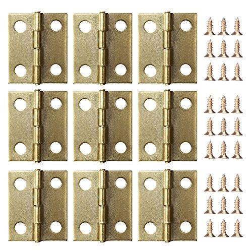 50 Piezas Mini Bisagras de Gabinete y Caja con 200 Piezas 5 mm Mini Tornillos de Reemplazo de Bisagras de Latón
