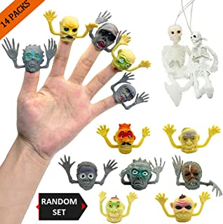 THREE BEARS Monster Finger Puppets for Zombie Party Supplies with 2 Sets of Hanging Full Body Skeletons Halloween Decorations Prop,Perfect for Zombie Cake Decorating,Storytime Party Favors(14 Packs)…