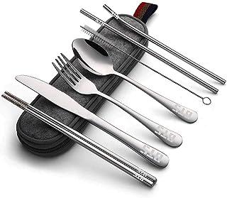 Kpop BTS Bangtan Boys Travel Camping Cubertería Set – portátil almuerzo Utensilios Set con funda y pajita, pajita recta, cuchillo, tenedor, cuchara, palillos, cepillo de limpieza 8 piezas