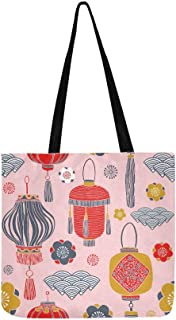 Reusable Grocery Shopping Tote Bags Art Custom Chinese Festival Lantern Reusable Bags Grocery Tote Canvas Tote Bag For Groceries For Shopping Groceries Books Groceries Bags Reusable