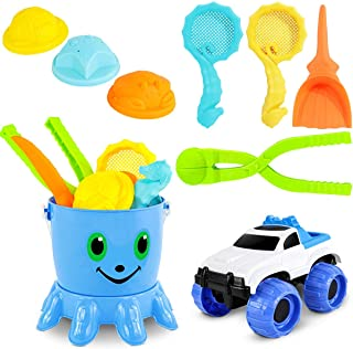 PETPLUS Beach Toys for Kids, 8+1 Sand Toys for Kids with 2 in 1 Water Toys Set with Mesh Bag Includes Sand Truck, Castle B...