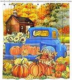 Ollt Herbst Duschvorhänge, Kürbisse Stoff Duschvorhänge, Herbst Ernte Farm Truck Badezimmer Duschvorhänge Home Decor 200x240cm