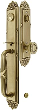 """Imperial Style Tubular Handleset in Antique Brass with Ribbon & Reed Knobs and 2 3/8"""" Backset. Antique Door Handle."""