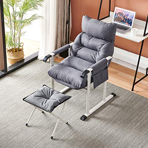 BELIFEGLORY Relining Chair with Foldable Footstool, Linen Fabric Padded Home Office Desk Chair, 5 Position Adjustable Lounge Recliner Balcony Lazy Sleeper Sofa (Dark Grey)
