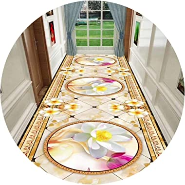 WX&QIANG Hallway Runner Rug Long Soft Non-Slip Skin-Friendly Easy to Clean Washable Blended Household Bedroom Hotel 3D Cu