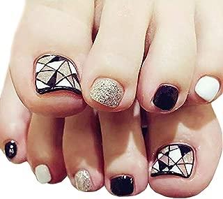 Fstrend Silver Sequin False Toenails Black White Geometric Lines Fake Nails for Toe Acrylic 24Pcs Fake Toe Nails Art Tips for Women and Girls