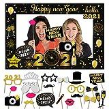 HOWAF Neujahr Silvester Deko 2021 Dekoration Set, 21pcs Silvester Photo Booth Props Fotorequisiten Foto Accessoire mit Selfie Rahmen für Neujahrsdeko Silvesterdko 2021